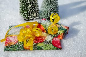 Christmas presents in snow